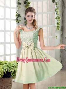 2016 Summer A Line Straps Lace Dama Dresses with Bowknot