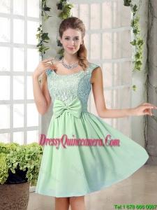 Elegant A Line Straps Lace Dama Dresses with Bowknot
