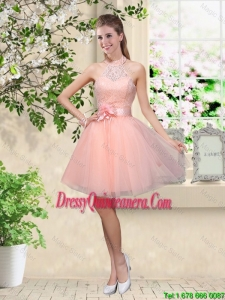 Artistic Halter Top Appliques and Laced Dama Dresses in Baby Pink
