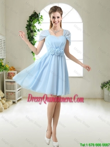 Pretty Hand Made Flowers Dama Dresses with Cap Sleeves