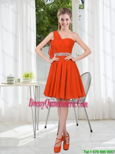 Rust Red One Shoulder Dama Dresses with Beading and Belt