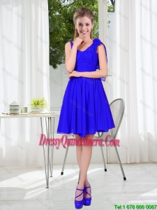2016 Fall Straps Short Dama Dresses in Royal Blue
