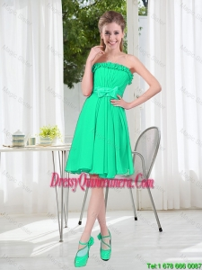 A Line Strapless Turquoise Dama Dresses for Spring