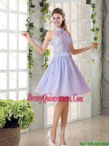 Beautiful A Line High Neck Lace Dama Dresses with Lavender