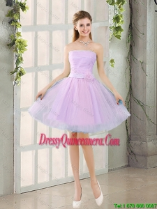 Custom Made A Line Strapless Ruching Dama Dresses with Belt