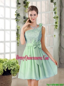 Custom Made One Shoulder Lace 2016 Dama Dresses with Bowknot