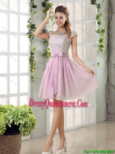 Popular A Line Square Lace Dama Dresses with Bowknot