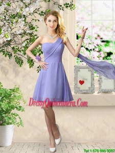 Cheap One Shoulder Ruched Dama Dresses in Lavender