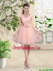 Decent V Neck Baby Pink Dama Dresses with Hand Made Flowers