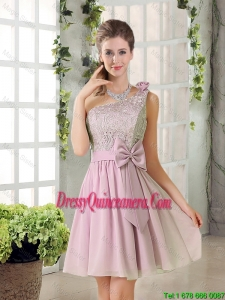 Discount A Line One Shoulder Pink Dama Dresses with Bowknot