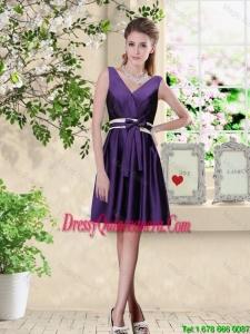 Discount V Neck Zipper Up Dama Dresses in Dark Purple