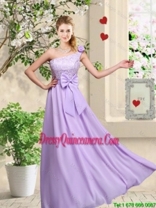 Fashionable One Shoulder Dama Dresses with Hand Made Flowers