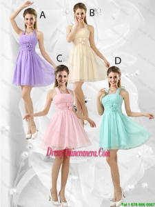 Luxurious Short Halter Top Dama Dresses with Ruching