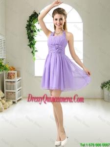 Modest Halter Top Hand Made Flowers Dama Dresses in Purple