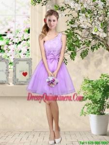 Popular A Line One Shoulder Laced Dama Dresses in Lavender