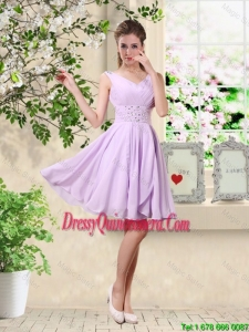 Popular V Neck Lavender Dama Dresses with Beading