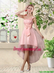Romantic One Shoulder Laced and Bowknot Dama Dresses in Pink
