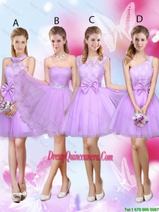 Sophisticated A Line Lavender Dama Dresses with Lace and Bowknot