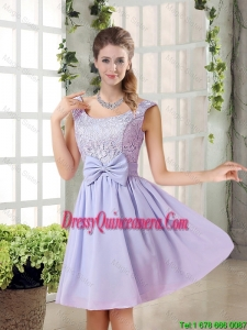 2015 Fall A Line Straps Lace Dama Dresses in Lavender