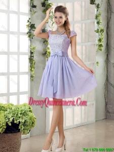 Custom Made A Line Square Bowknot Dama Dresses for 2016