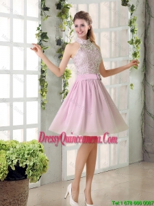 Perfect High Neck Lace Dama Dresses with Belt for 2016