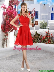 Simple Ruched Red V Neck Dama Dresses with Belt