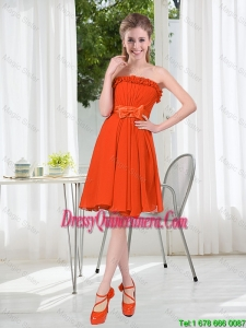 Summer A Line Strapless Bowknot Dama Dress in Rust Red