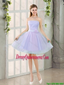 Artistic A Line Strapless Belt Dama Dresses with Hand Made Flowers