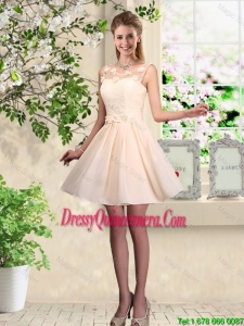 Cheap A Line Scoop Champagne Dama Dresses with Appliques