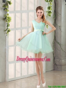 Gorgeous V Neck Strapless Dama Dresses with Bowknot