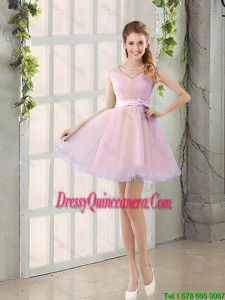 Perfect V Neck Strapless Short Dama Dresses with Bowknot