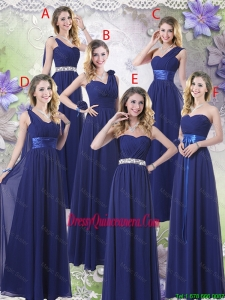 New Style Empire Floor Length Dama Dresses in Navy Blue