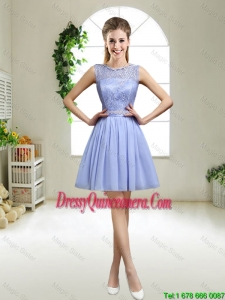 Popular 2016 Appliques Lavender Dama Dresses with Bateau