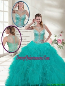 2016 Spring Elegant Scoop Quinceanera Dresses with Ruffles and Beading