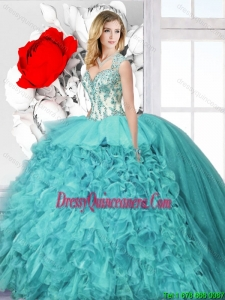 2016 Spring Latest Ball Gown Straps Sweet 16 Dresses with Appliques