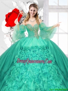 2016 Summer Popular Beaded Turquoise Quinceanera Gowns with Ruffles