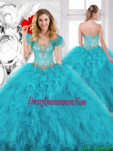 Modest Beading Sweetheart Quinceanera Dresses in Aqua Blue