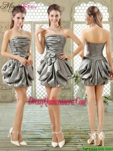 New Style Short Strapless Silver Dama Dresses with Pick Ups
