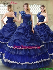 Elegant 2016 Ruffled Layers One Shoulder Quinceanera Dresses