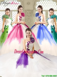 Elegant Appliques and Ruffles Quinceanera Dresses with One Shoulder