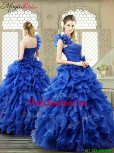 New Arrivals One Shoulder Ruffles Quinceanera Gowns for 2016