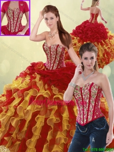 Luxurious Beading and Ruffles 2016 Quinceanera Dresses in Multi Color
