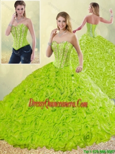 Modest Rolling Flowers Quinceanera Gowns with Sweetheart