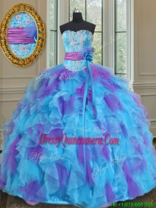 2017 Best Sweetheart Organza Blue and Purple Quinceanera Gown with Handmade Flower