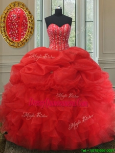 2017 Elegant Visible Boning Bubble Quinceanera Dress with Beading and Ruffles