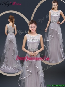 2016 Exquisite Brush Train Scoop Dama Dresses with Appliques