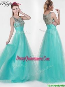 2016 Fall Lovely Empire Scoop Beading Dama Dresses