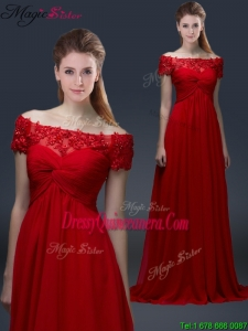 Simple Off the Shoulder Short Sleeves Red Dama Dresses with Appliques