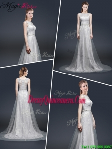 Winter Elegant Empire Bateau Dama Dresses with Brush Train