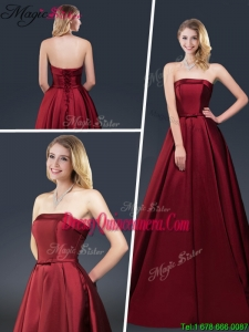 Winter Gorgeous A Line Strapless Dama Dresses with Brush Train